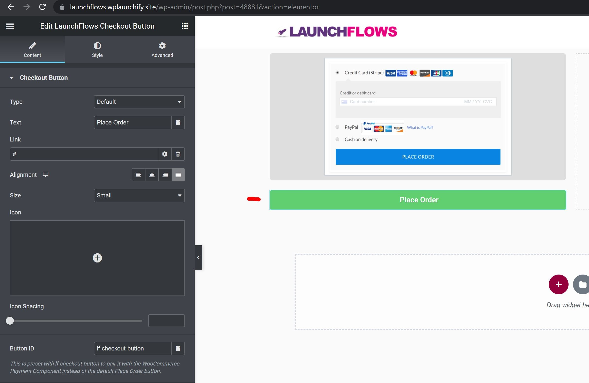 LaunchFlows Add New Place Order Button