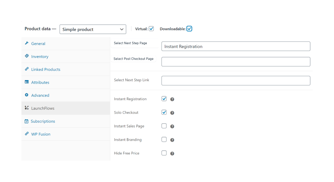 Instant Registration Checkbox
