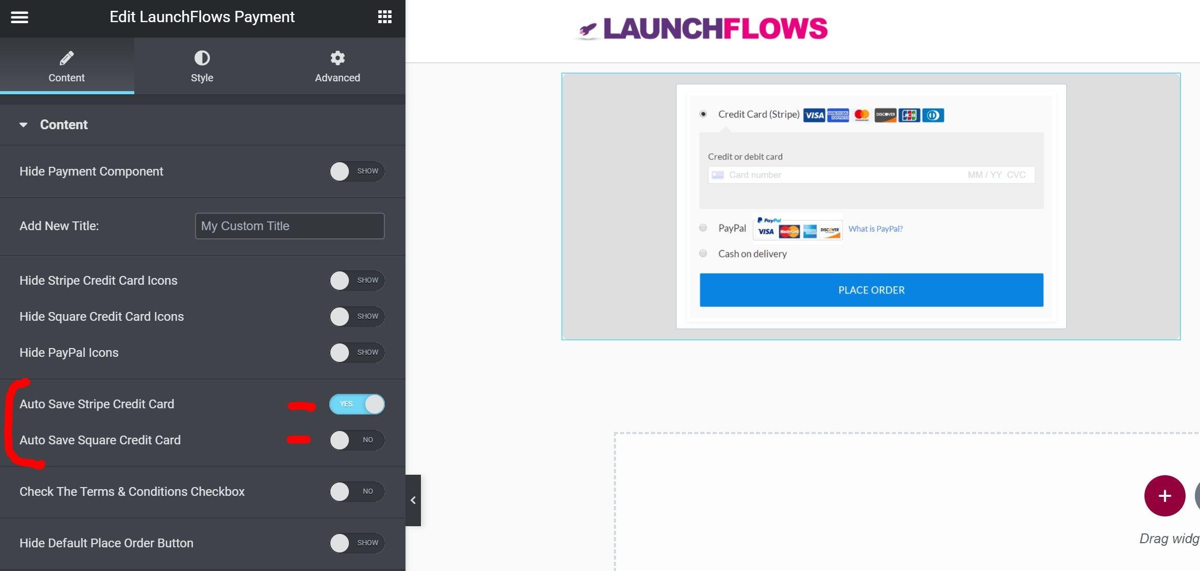 LaunchFlows Hide CC Elementor