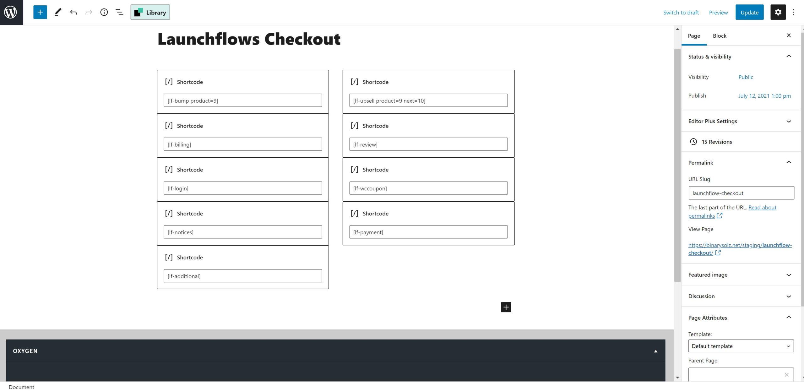 LaunchFlows Oxygen Layout With Gutenberg